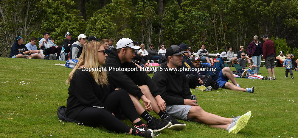 Cricket fans at the Georgie Pie Super Smash Twenty20 cricket match between the Otago Volts v Canterbury Kings held at the University Oval, Dunedin. 29 November 2015.