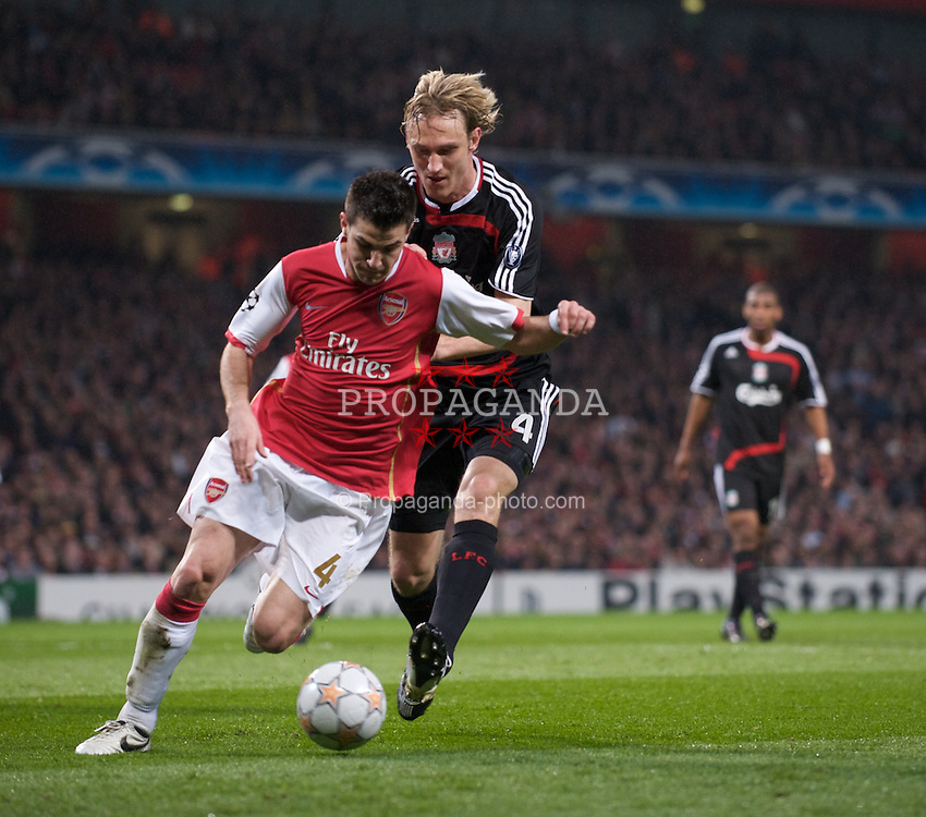 LONDON, ENGLAND - Wednesday, April 2,2008: Liverpool's Liverpool and Arsenal's Cesc Fabregas during the UEFA Champions League Quarter-Final 1st Leg match at the Emirates Stadium. (Pic by David Rawcliffe/Propaganda)
