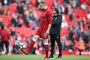 Liverpool midfielder Jordan Henderson (14) during the Premier League match between Liverpool and Stoke City at Anfield, Liverpool, England on 28 April 2018. Picture by Craig Galloway.
