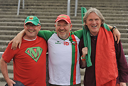 Mayo supporters John Dempsey, Francis Meeneghan and Seamus Morris from Kiltimagh at the Gaelic grounds.<br /> Pic Conor McKeown