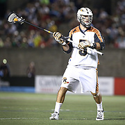 Mike Manley #5 of the Rochester Rattlers controls the ball nduring the game at Harvard Stadium on August 9, 2014 in Boston, Massachusetts. (Photo by Elan Kawesch)