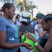 March 9, 2015, Indian Wells, California:<br /> Taylor Townsend signs autographs during the WTA Draw Ceremony at the Indian Wells Tennis Garden in Indian Wells, California Monday, March 9, 2015.<br /> (Photo by Billie Weiss/BNP Paribas Open)