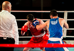 Jovan Stojanovic of Serbia (BLUE) fights against Edin Sejdinovic of Slovenia (RED) in Elite 69 kg Category during Dejan Zavec Boxing Gala event in Laško, on April 21, 2017 in Thermana Lasko, Slovenia. Photo by Vid Ponikvar / Sportida