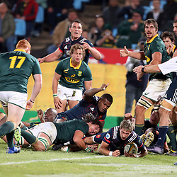 Baptiste Serin of France over for a try during the 1st test match between South Africa and France Loftus Versfeld stadium, Pretoria South Africa. 10th June 2017(Photo by Steve Haag Sports)