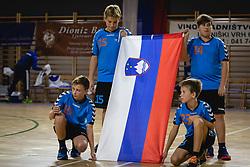 Flag boys before friendly handball match between Slovenia and Nederland, on October 25, 2019 in Športna dvorana Hardek, Ormož, Slovenia. Photo by Blaž Weindorfer / Sportida