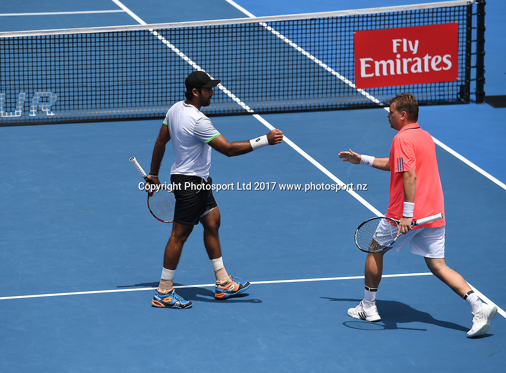 Poland's Marcin Matkowski and Pakistan's Aisam Ul Haq during the doubles final at the ASB Classic. ATP Mens Tennis Tournament. ASB Tennis Centre, Auckland, New Zealand. Saturday 14 January 2017. © Copyright photo: Andrew Cornaga / www.photosport.nz