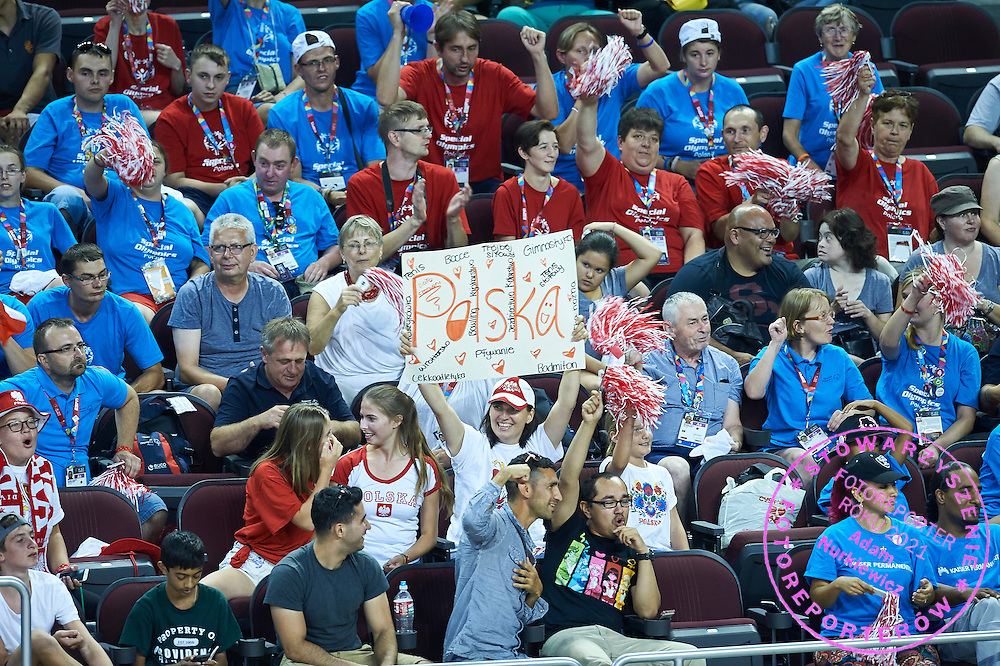 Supporters in action during basketball match between SO Poland and SO Portugal while basketball tournament during fifth day of the Special Olympics World Games Los Angeles 2015 on July 29, 2015 at Galen Centre University of Southern California in Los Angeles, USA.<br /> <br /> USA, Los Angeles, July 29, 2015<br /> <br /> Picture also available in RAW (NEF) or TIFF format on special request.<br /> <br /> For editorial use only. Any commercial or promotional use requires permission.<br /> <br /> Adam Nurkiewicz declares that he has no rights to the image of people at the photographs of his authorship.<br /> <br /> Mandatory credit:<br /> Photo by &copy; Adam Nurkiewicz / Mediasport