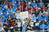 Supporters in action during basketball match between SO Poland and SO Portugal while basketball tournament during fifth day of the Special Olympics World Games Los Angeles 2015 on July 29, 2015 at Galen Centre University of Southern California in Los Angeles, USA.<br /> <br /> USA, Los Angeles, July 29, 2015<br /> <br /> Picture also available in RAW (NEF) or TIFF format on special request.<br /> <br /> For editorial use only. Any commercial or promotional use requires permission.<br /> <br /> Adam Nurkiewicz declares that he has no rights to the image of people at the photographs of his authorship.<br /> <br /> Mandatory credit:<br /> Photo by © Adam Nurkiewicz / Mediasport