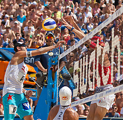 05.08.2011, Klagenfurt, Strandbad, AUT, Beachvolleyball World Tour Grand Slam 2011, im Bild CLemens Doppler , Matthias Mellitzer AUT, Patrick Heuscher SUI, EXPA Pictures © 2011, PhotoCredit EXPA Gert Steinthaler