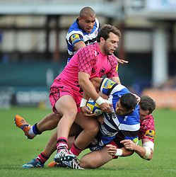 Alafoti Fa'osiliva of Bath Rugby is tackled to ground - Photo mandatory by-line: Patrick Khachfe/JMP - Mobile: 07966 386802 13/09/2014 - SPORT - RUGBY UNION - Bath - The Recreation Ground - Bath Rugby v London Welsh - Aviva Premiership
