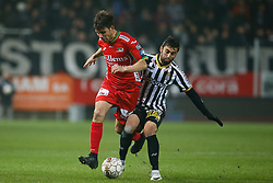December 1, 2017 - Charleroi, BELGIUM - Oostende's Aleksandar Bjelica and Charleroi's Kaveh Rezaei fight for the ball during the Jupiler Pro League match between Sporting Charleroi and KV Oostende, in Charleroi, Friday 01 December 2017, on the day 17 of the Jupiler Pro League, the Belgian soccer championship season 2017-2018. BELGA PHOTO BRUNO FAHY (Credit Image: © Bruno Fahy/Belga via ZUMA Press)