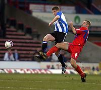 Photo: Matt Bright/Sportsbeat Images.<br /> Crystal Palace v Sheffield Wednesday. Coca Cola Championship. 15/12/2007.<br /> Richard Hinds of Sheffield Wednesday & James Scowcroft of Crystal Palace