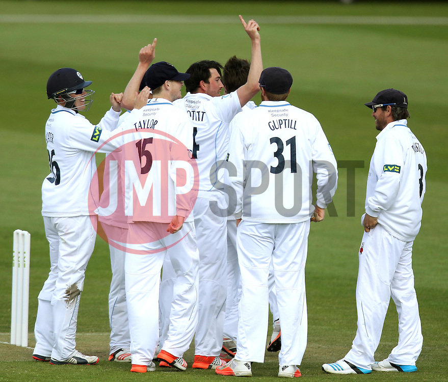 Derbyshire's Mark Footitt celebrates the wicket of Gloucestershire's Chris Dent - Photo mandatory by-line: Robbie Stephenson/JMP - Mobile: 07966 386802 - 28/04/2015 - SPORT - Cricket - Bristol - The County Ground - Gloucestershire v Derbyshire - County Championship Division Two
