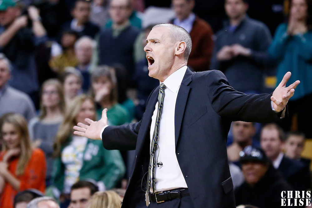 12 December 2012: Dallas Mavericks head coach Rick Carlisle reacts during the Boston Celtics 117-115 2 overtimes victory over the Dallas Mavericks at the TD Garden, Boston, Massachusetts, USA.