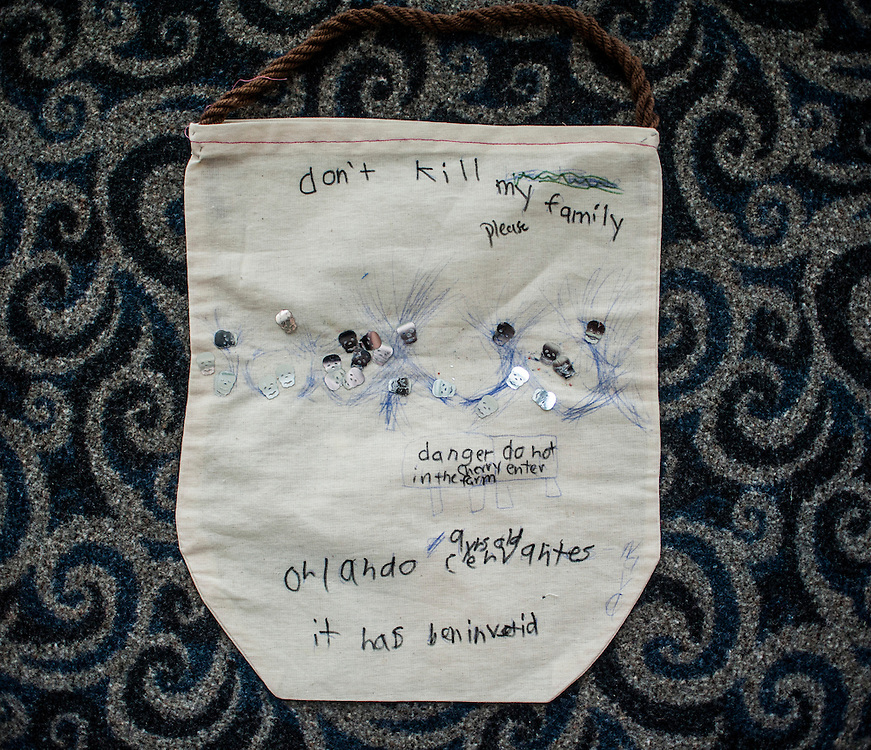 Photo by Matt Roth<br /> <br /> A bag made by the child of a field worker from New York was given to Sean Byrne, Senator Chuck Schumer's Agriculture and Environment Legislative Assistant. It says &quot;don't kill my family please,&quot; and is adorned with skulls.