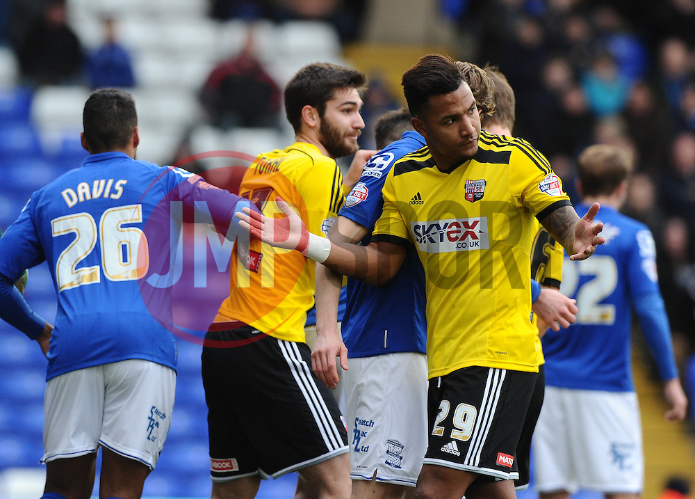 Brentford's Liam Moore complains to the referee at a corner  - Photo mandatory by-line: Joe Meredith/JMP - Mobile: 07966 386802 - 28/02/2015 - SPORT - Football - Birmingham - ST Andrews Stadium - Birmingham City v Brentford - Sky Bet Championship