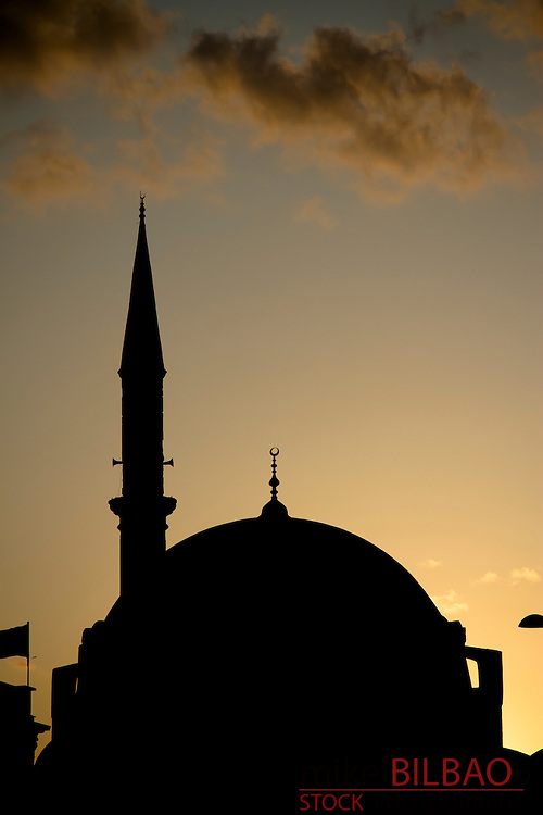 Mosque siluet at sunset.<br /> Istanbul, Turkey