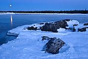 Full moon rising over Lake Huron. South Baymouth.<br /> Manitoulin Island<br /> Ontario<br /> Canada