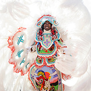 NEW ORLEANS, LA - FEBRUARY 17:  Joseph Boudreaux, 2nd Chief of the Golden Eagles Mardi Gras Indians, masks on February 17, 2015 in New Orleans, Louisiana.  (Photo by Erika Goldring/Getty Images) *** Local Caption *** Joseph Boudreaux