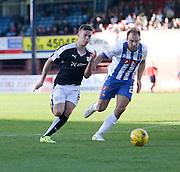 Dundee&rsquo;s Rhys Healey runs at Kilmarnock&rsquo;s Conrad Balatoni - Dundee v Kilmarnock, Ladbrokes Premiership at Dens Park <br /> <br />  - &copy; David Young - www.davidyoungphoto.co.uk - email: davidyoungphoto@gmail.com