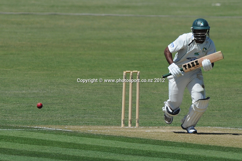 Central Stag's Tarun Nathula in action in the Plunket Shield match, Central Districts vs Otago, Napier, New Zealand. Tuesday 27 November 2012. Photo: Kerry Marshall / photosport.co.nz