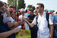 Giedo van der Garde (NLD) Sauber Reserve Driver signs autographs for the fans.<br /> Italian Grand Prix, Sunday 7th September 2014. Monza Italy.