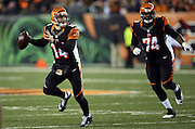 Cincinnati Bengals quarterback Andy Dalton (14) scrambles while looking to pass during the NFL week 10 regular season football game against the Cleveland Browns on Thursday, Nov. 6, 2014 in Cincinnati. The Browns won the game 24-3. ©Paul Anthony Spinelli