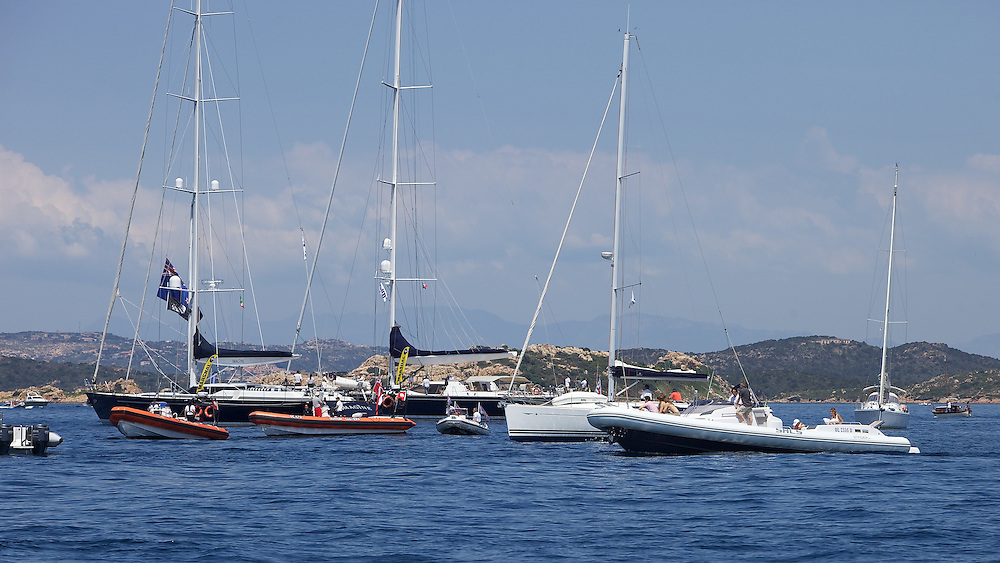 SARDINIA, La Maddalena, 22nd May 2010, Louis Vuitton Trophy, TEAMORIGIN vs Aleph Sailing Team. Spectator Fleet.