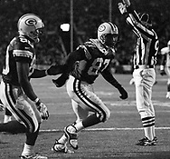 (Published caption 11/3/97) Packers' Robert Brooks heads to the stands for a Lambeau Leap after catching a 26-yard touchdown pass from Brett Favre in the first quarter Sunday.