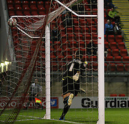 Picture by David Horn/Focus Images Ltd +44 7545 970036<br /> 17/09/2013<br /> Bartosz Bialkowski of Notts County can't prevent Leyton Orient taking the lead during the Sky Bet League 1 match at the Matchroom Stadium, London.