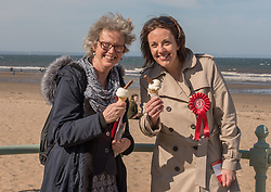 Scottish Labour leader Kezia Dugdale joined local Labour council candidate Maureen Child and party activists for some last minute campaigning on Portobello Prom Pictured: Maureen Child and Kezia Dugdale<br /> <br /> <br /> © Jon Davey/ EEm