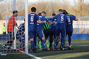 Goal mouth scramble during the The FA Cup match between Curzon Ashton and AFC Wimbledon at Tameside Stadium, Ashton Under Lyne, United Kingdom on 4 December 2016. Photo by Stuart Butcher.