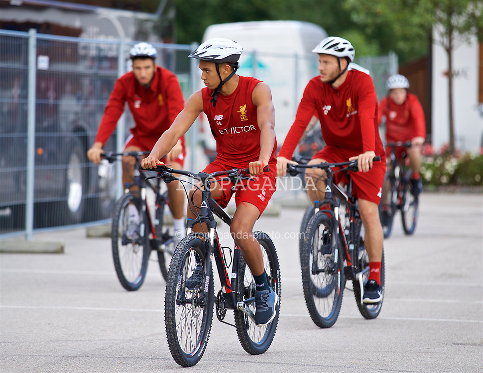 ROTTACH-EGERN, GERMANY - Friday, July 28, 2017: Liverpool's Trent Alexander-Arnold on a bike after a training session at FC Rottach-Egern on day three of the preseason training camp in Germany. (Pic by David Rawcliffe/Propaganda)