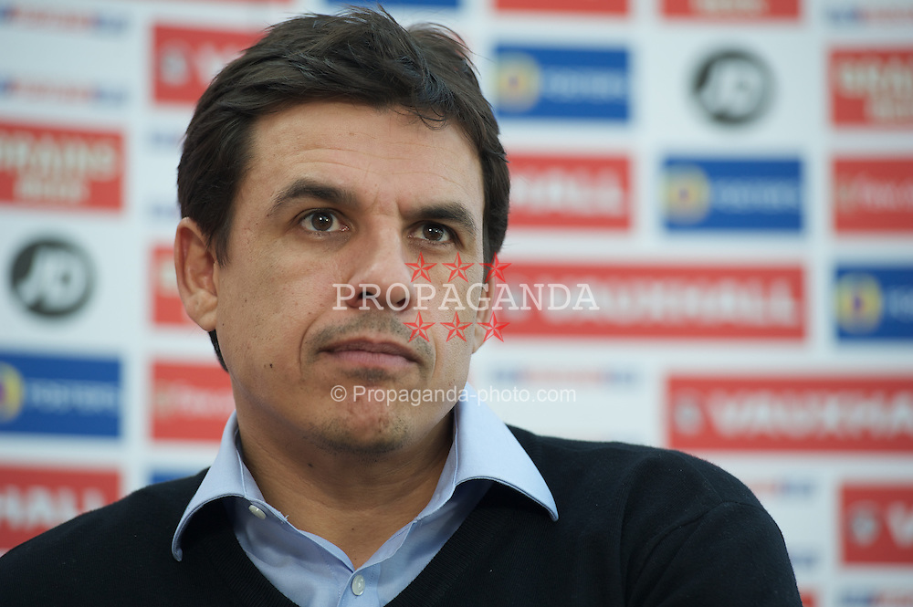 CARDIFF, WALES - Thursday, January 31, 2013: Wales' manager Chris Coleman at a press conference at the Vale of Glamorgan Hotel to announce his squad for the forthcoming friendly against Austria. (Pic by David Rawcliffe/Propaganda)