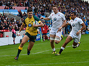 Australia full-back Jack Maddocks cuts through the England defence to score in the opening minute  during the World Rugby U20 Championship  match England U20 -V- Australia U20 at The AJ Bell Stadium, Salford, Greater Manchester, England on June  15  2016, (Steve Flynn/Image of Sport)