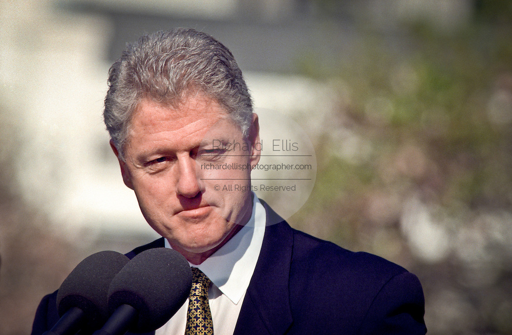 US President Bill Clinton speaks during the official arrival ceremony of Chinese Premier Zhu Rongji at the White House April 8, 1999 in Washington D.C.