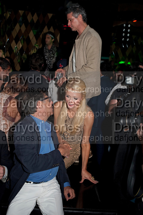 PARIS HILTON; BOB COLLACELLO, After party for hosted by Alex Dellal, Stavros Niarchos, and Vito Schnabel celebrate Dom PŽrignon Luminous. W Hotel Miami Beach. Opening of Miami Art Basel 2011, Miami Beach. 1 December 2011. .<br /> PARIS HILTON; BOB COLLACELLO, After party for hosted by Alex Dellal, Stavros Niarchos, and Vito Schnabel celebrate Dom Pérignon Luminous. W Hotel Miami Beach. Opening of Miami Art Basel 2011, Miami Beach. 1 December 2011. .