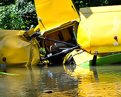 A single engine aircraft crashed into the Little Lehigh Creek near the 2600 block of Fish Hatchery Road August 14th, 2015, in Allentown.