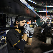 NEW YORK, NEW YORK - June 15: Sean Rodriguez #3 of the Pittsburgh Pirates in the dugout preparing to bat during the Pittsburgh Pirates Vs New York Mets regular season MLB game at Citi Field on June 15, 2016 in New York City. (Photo by Tim Clayton/Corbis via Getty Images)