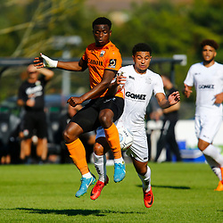 Barnets defender David Tutonda and Dovers forward Jamie Allen both vie for the ball during the National League match between Dover Athletic and Barnet FC at Crabble Stadium, Kent on 1 September 2018. Photo by Matt Bristow.