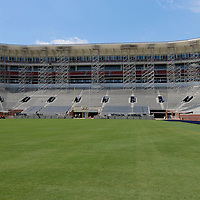 Thomas Wells | Buy at PHOTOS.DJOURNAL.COM<br /> Scaffolding is being used to install additional speakers around Vaught-Hemmingway Stadium as part of the stadiums expansion.