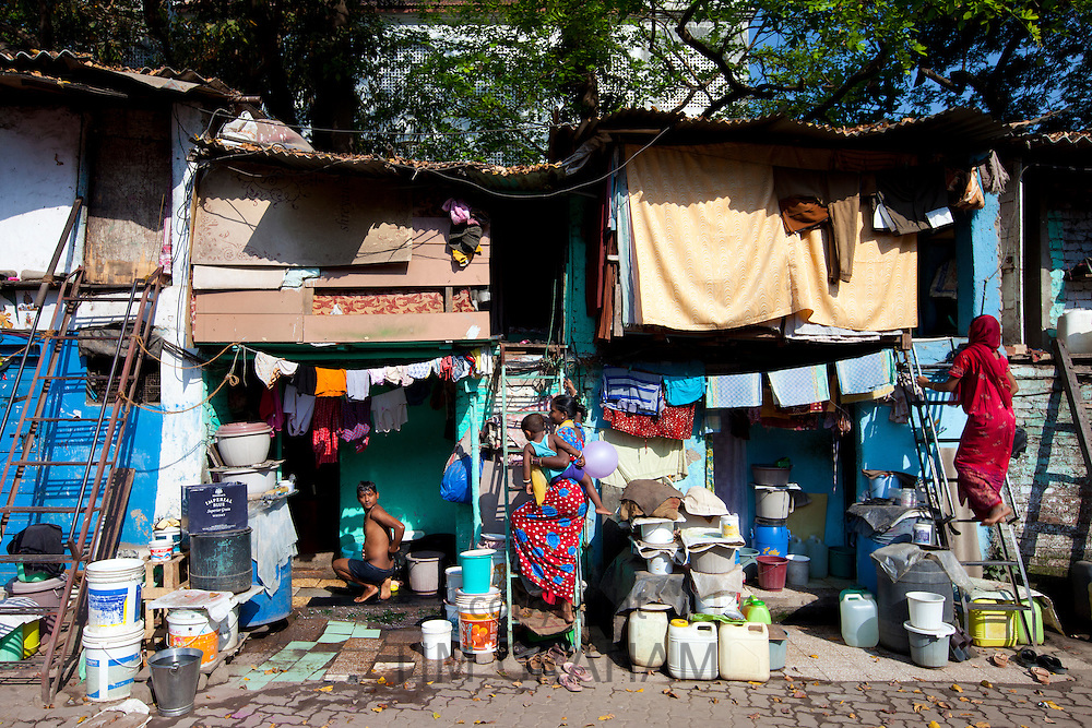 Slum housing and slum dwellers in Mahalaxmi area of Mumbai, formerly Bombay, India