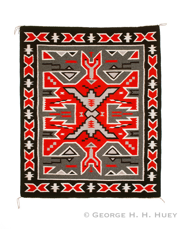 """0108-1028 ~ Copyright:  George H. H. Huey ~ Navajo Indian Rug. Teec Nos Pos style. 34"""" x 41"""". Hubbell Trading Post National Historic Site, Arizona."""