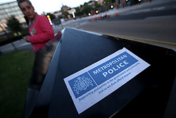 UK ENGLAND ROTHERHAM 28AUG14 - A sticker accusing the Metropolitan police of complacency about paedophiles is seen on a rubbish bin in the town of Rotherham, epicentre of the largest child sex abuse scandal in Britain.<br /> <br /> An August 2014 report found that around 1,400 children had been sexually exploited in the town between 1997 and 2013, mainly by British-Pakistani men.<br /> <br /> jre/Photo by Jiri Rezac<br /> <br /> &Acirc;&copy; Jiri Rezac 2014