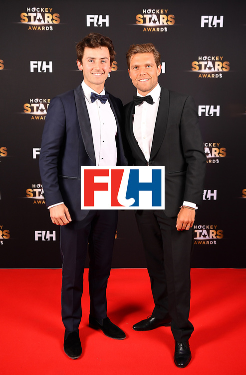 BERLIN, GERMANY - FEBRUARY 05:  Arthur van Doren  and Vincent Vanasch of Belgium pose for a picture during the Hockey Star Awards night at Stilwerk on February 5, 2018 in Berlin, Germany.  (Photo by Stuart Franklin/Getty Images For FIH)