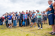 Graeme McDowell (NIR) looks to plays his ball from on top the TV cables after missing the green on the 9th hole during the second round of the Aberdeen Standard Investments Scottish Open at The Renaissance Club, North Berwick, Scotland on 12 July 2019.