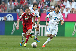 29.03.2014, Allianz Arena, Muenchen, GER, 1. FBL, FC Bayern Muenchen vs TSG 1899 Hoffenheim, 28. Runde, im Bild l-r: im Zweikampf, Aktion, mit Tarik Elyounoussi #14 (TSG 1899 Hoffenheim), Franck Ribery #7 (FC Bayern Muenchen) und Eugen Polanski #8 (TSG 1899 Hoffenheim) // during the German Bundesliga 28th round match between FC Bayern Munich and TSG 1899 Hoffenheim at the Allianz Arena in Muenchen, Germany on 2014/03/29. EXPA Pictures © 2014, PhotoCredit: EXPA/ Eibner-Pressefoto/ Kolbert<br /> <br /> *****ATTENTION - OUT of GER*****