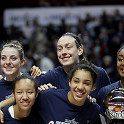 Breanna Stewart, (center, right)), and Katie Lou Samuelson, (center, left) with team mates at the trophy presentation during the UConn Huskies Vs USF Bulls 2016 American Athletic Conference Championships Final. Mohegan Sun Arena, Uncasville, Connecticut, USA. 7th March 2016. Photo Tim Clayton