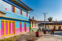 San Felix  , Colombia  - February 19, 2017 :  colorful buildings of San Felix near Salamina Caldas in Colombia South America