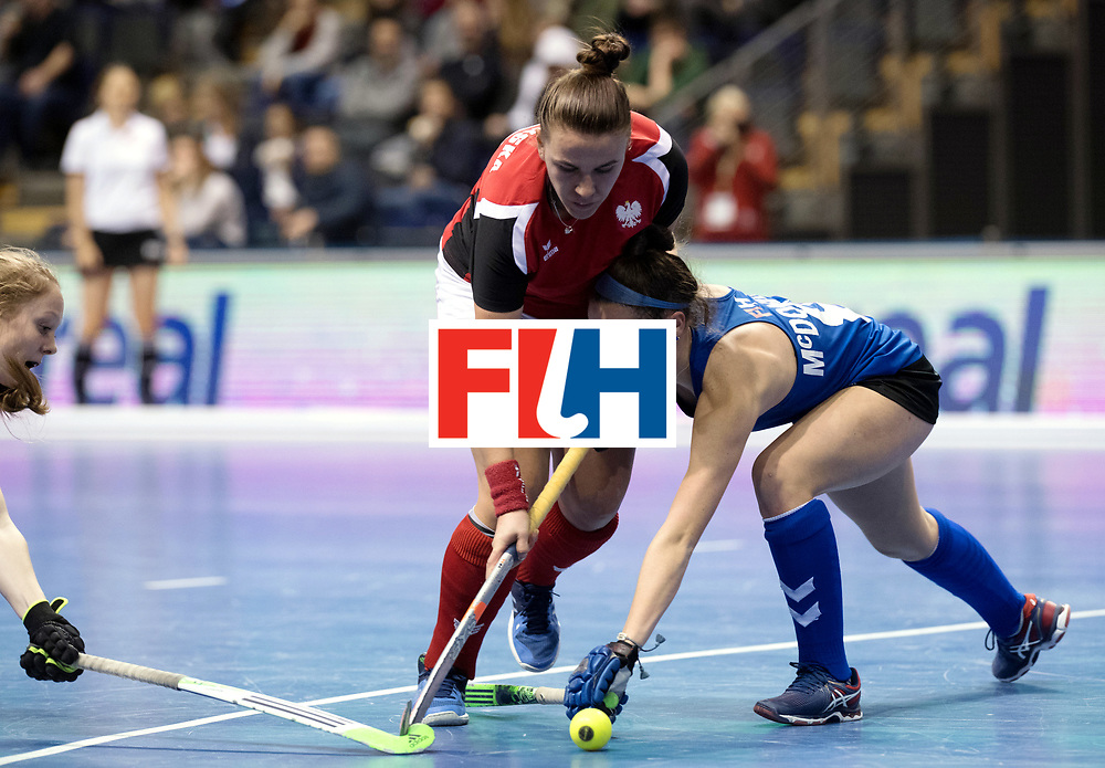 BERLIN - Indoor Hockey World Cup<br /> Women: Poland - USA<br /> foto: SLAWINSKA Paula and Anarose McDonough.<br /> WORLDSPORTPICS COPYRIGHT FRANK UIJLENBROEK